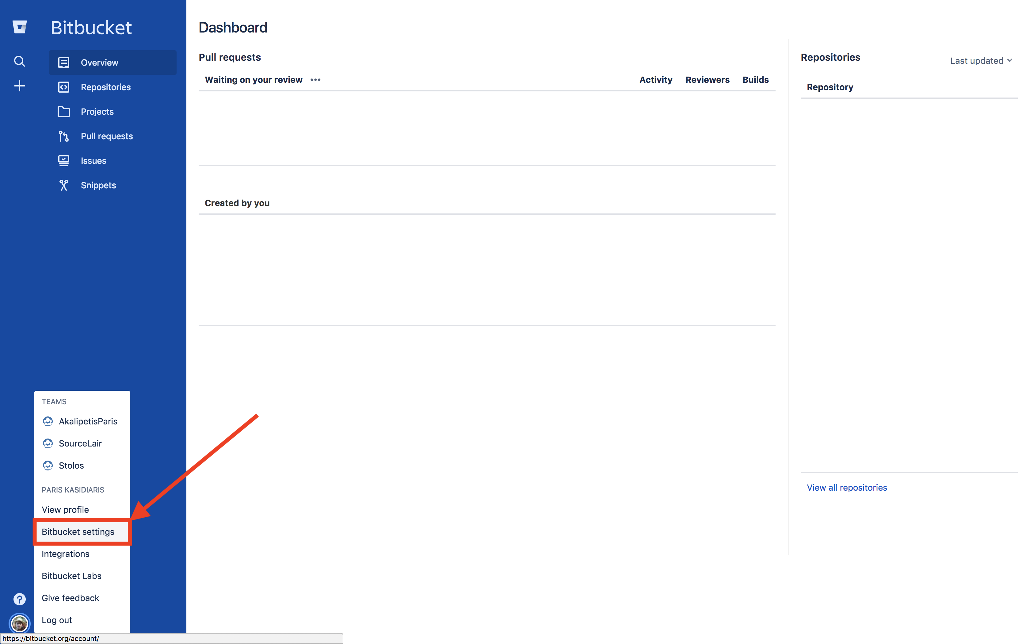 Bitbucket settings